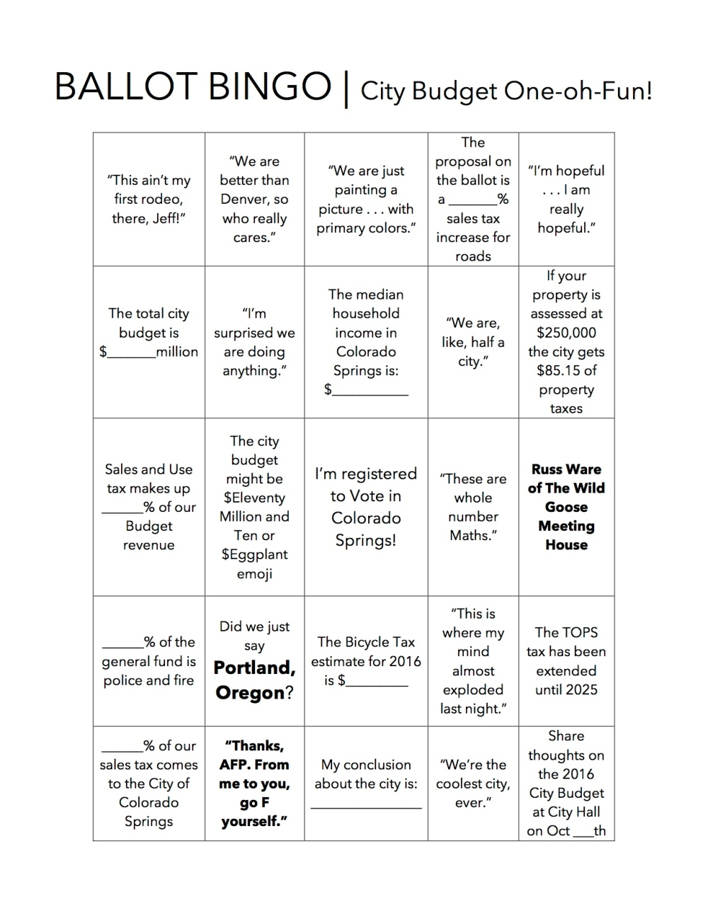 BALLOT BINGO Week One _ City Budget One oh Fun