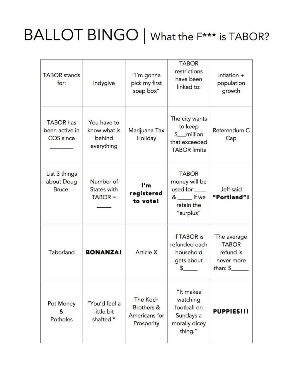 BALLOT BINGO - What the F is TABOR
